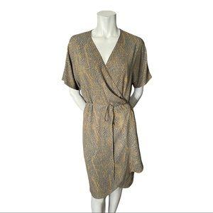Aritzia Babaton Wallace Grey/Yellow Wrap Dress L